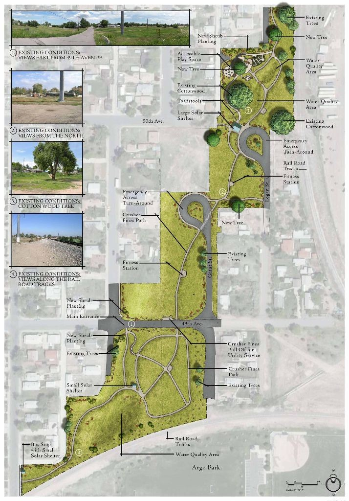The site plan for Platte Farm Open Space details the land area and amenities to be included.