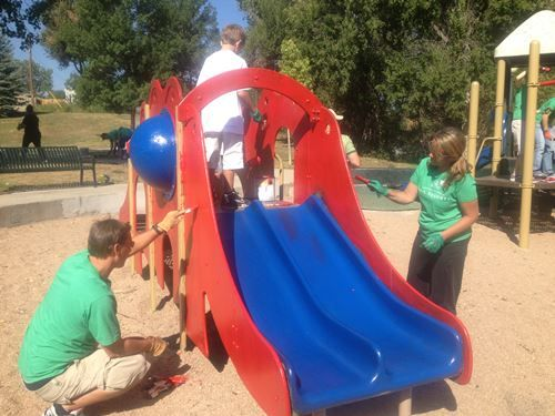 Painting playground equipment